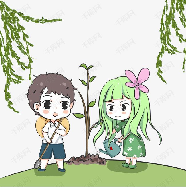 植树节一起种树的小学生素材图片免费下载 高清psd 千库网 图片编号11879953