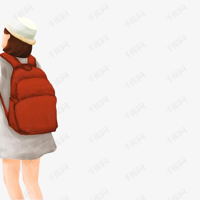 背着书包的女孩  背着书包的孩子  微笑的小女孩