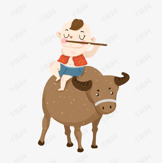 卡通骑牛的小孩子免抠图图片