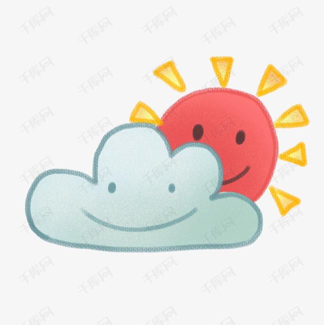 卡通可爱天气多云插画图片