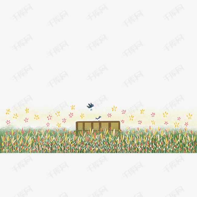 装饰风景春天山花野花遍野装饰底框png