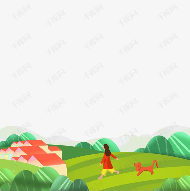 春天少女田野少女和狗风景装饰底框绿色海报边框矢量免抠png素材免