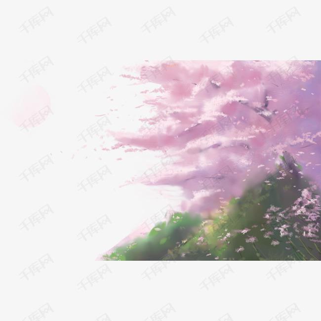 手绘卡通樱花树免扣元素