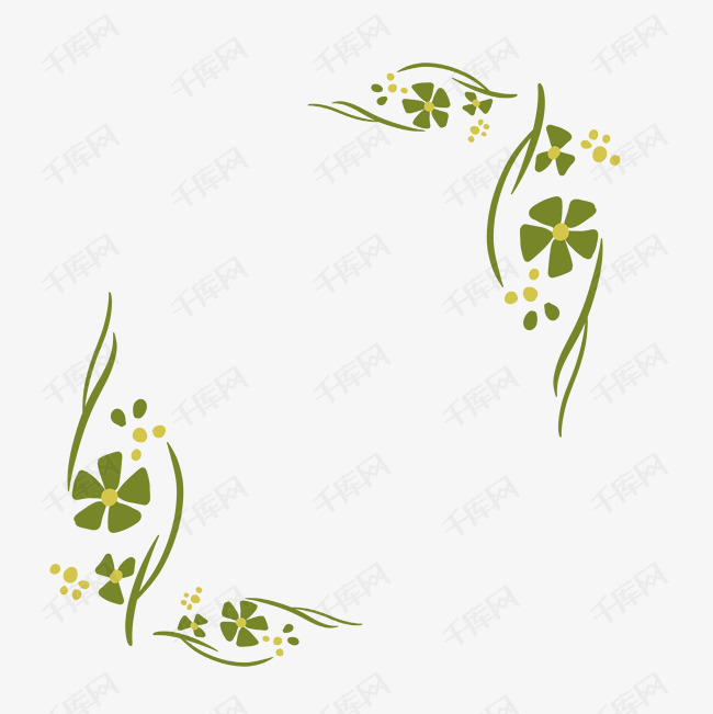 绿色清新唯美免抠手绘手账边框