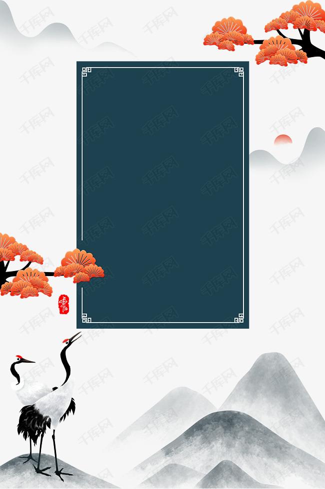 古风红叶海报装饰边框素材图片免费下载 千库网