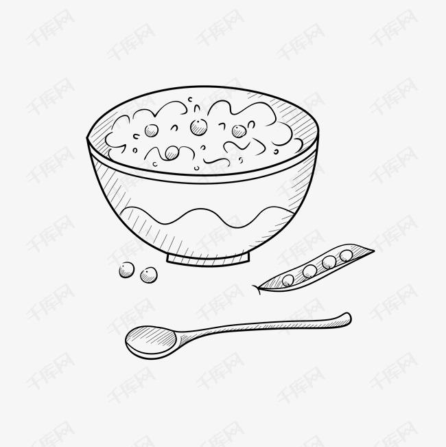 手绘简笔画饭饭碗豌豆素材图片免费下载 高清psd 千库网 图片编号8967193