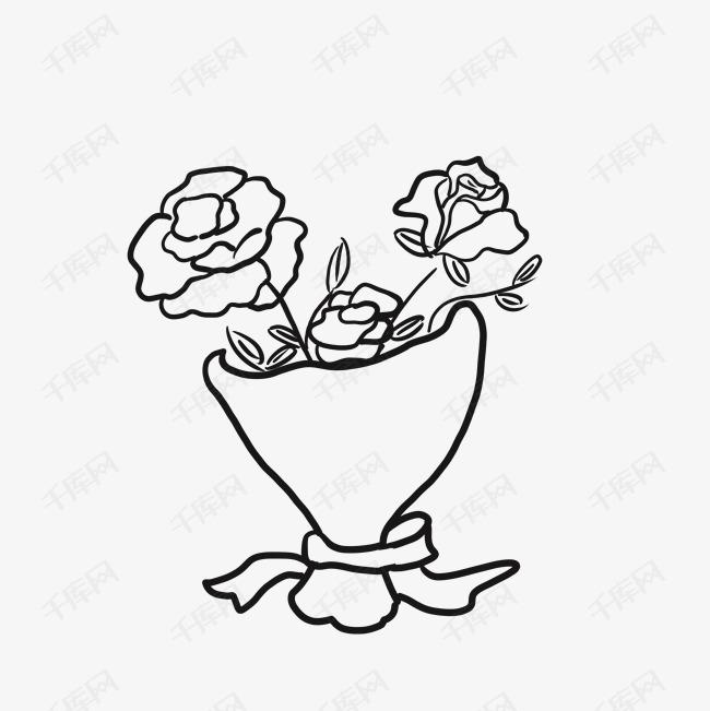 美丽的玫瑰花束简笔画素材图片免费下载 高清psd 千库网 图片编号9660287