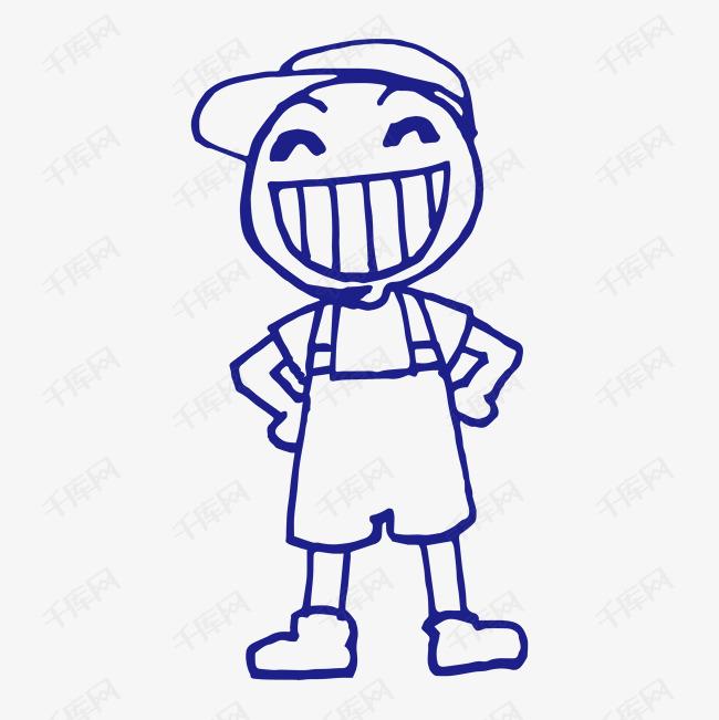 格子小人手拉手微笑的简笔画人物创意卡通小人表情-微笑的简笔小人