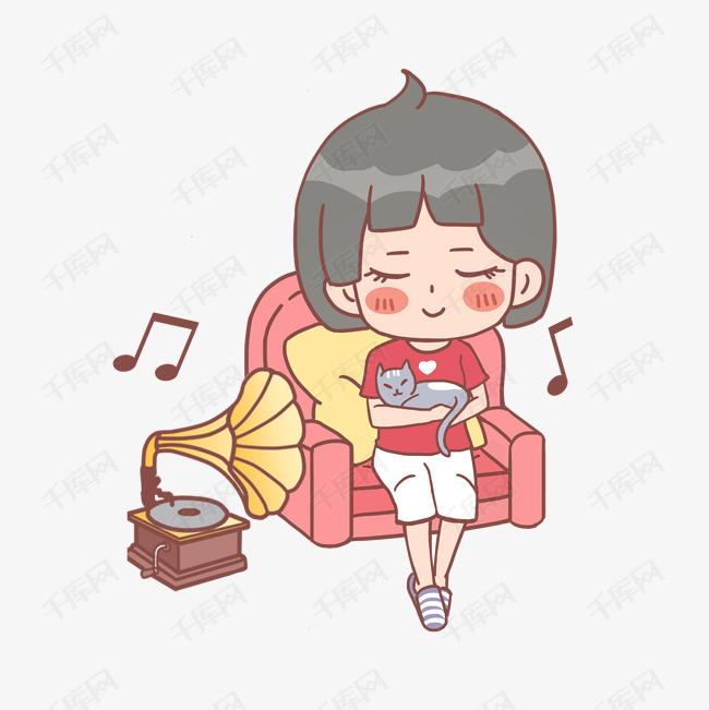 听素材的可爱女生音乐女孩大学渴望矢量图片
