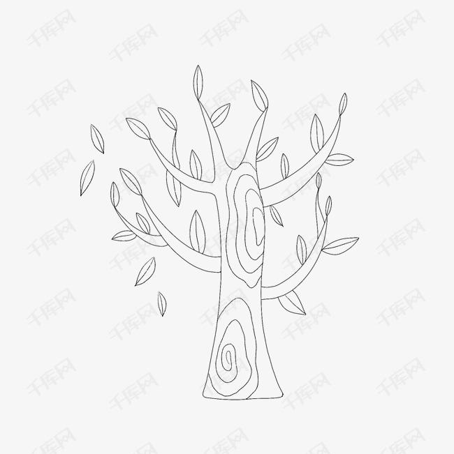 卡通矢量黑白手绘插图树