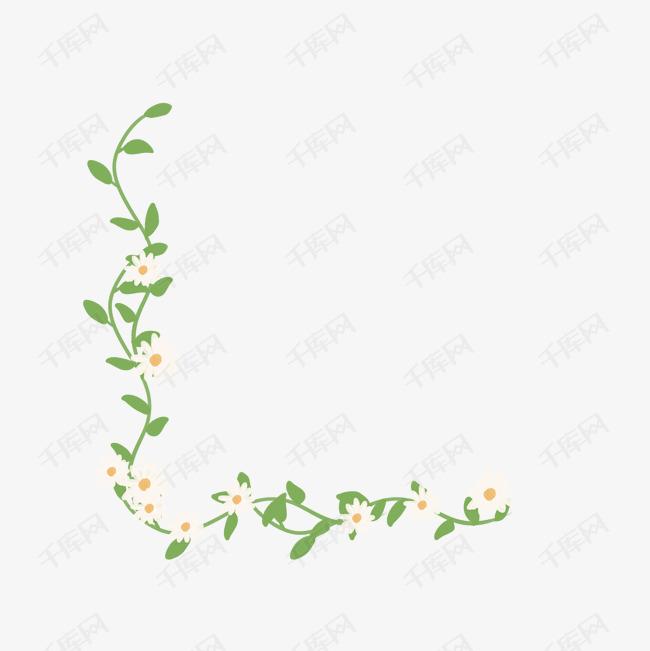 绿色手绘藤蔓花朵装饰图案