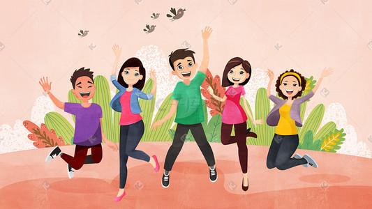 女生运女生-卡通运卡通-插图运图片素材插画上卡通军训图片