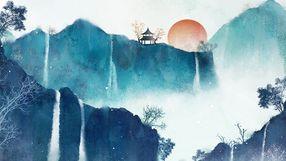 中国水墨风山水图