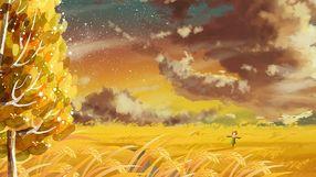 治愈唯美立秋天空云彩大树场景风景黄色系