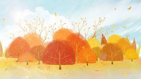 暖色秋季金色风景