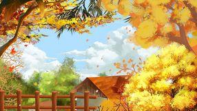 秋分秋天立秋冬至唯美手绘风景场景枯黄树叶
