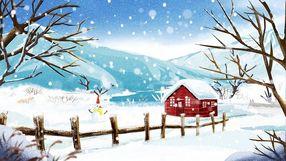 冬至冬天霜降立冬大树房子白雪唯美意境