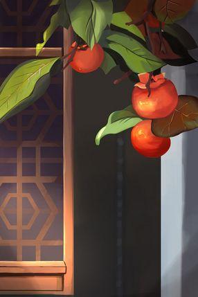 秋天柿子熟了插畫画面