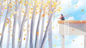 秋季唯美霜降节气治愈插畫
