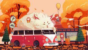 秋天主题公交站旁边的孩子们清新治愈系插图
