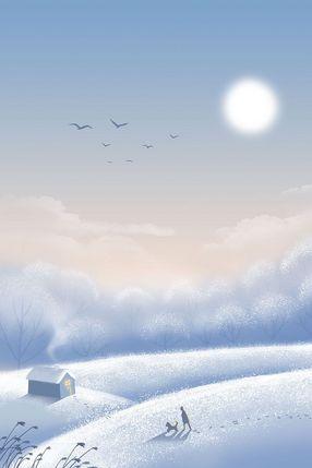 立冬冬至冬天冬季安静雪地风景