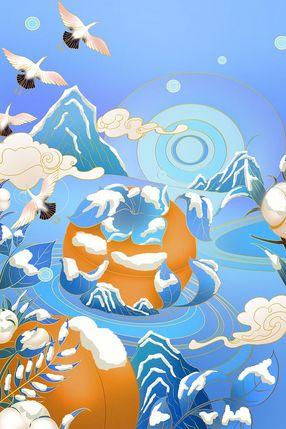 霜降立冬大雪冬至冬天冬日蓝色中国风寒冷