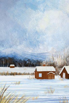 立冬节气房屋雪地风景油画
