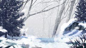 立冬冬至大雪森林大寒节日唯美手绘