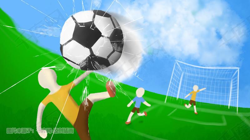 2018世界杯足球冲击力裂屏碎裂手绘海报