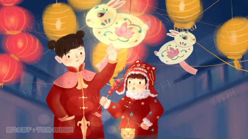 元宵节姐妹看灯会图片