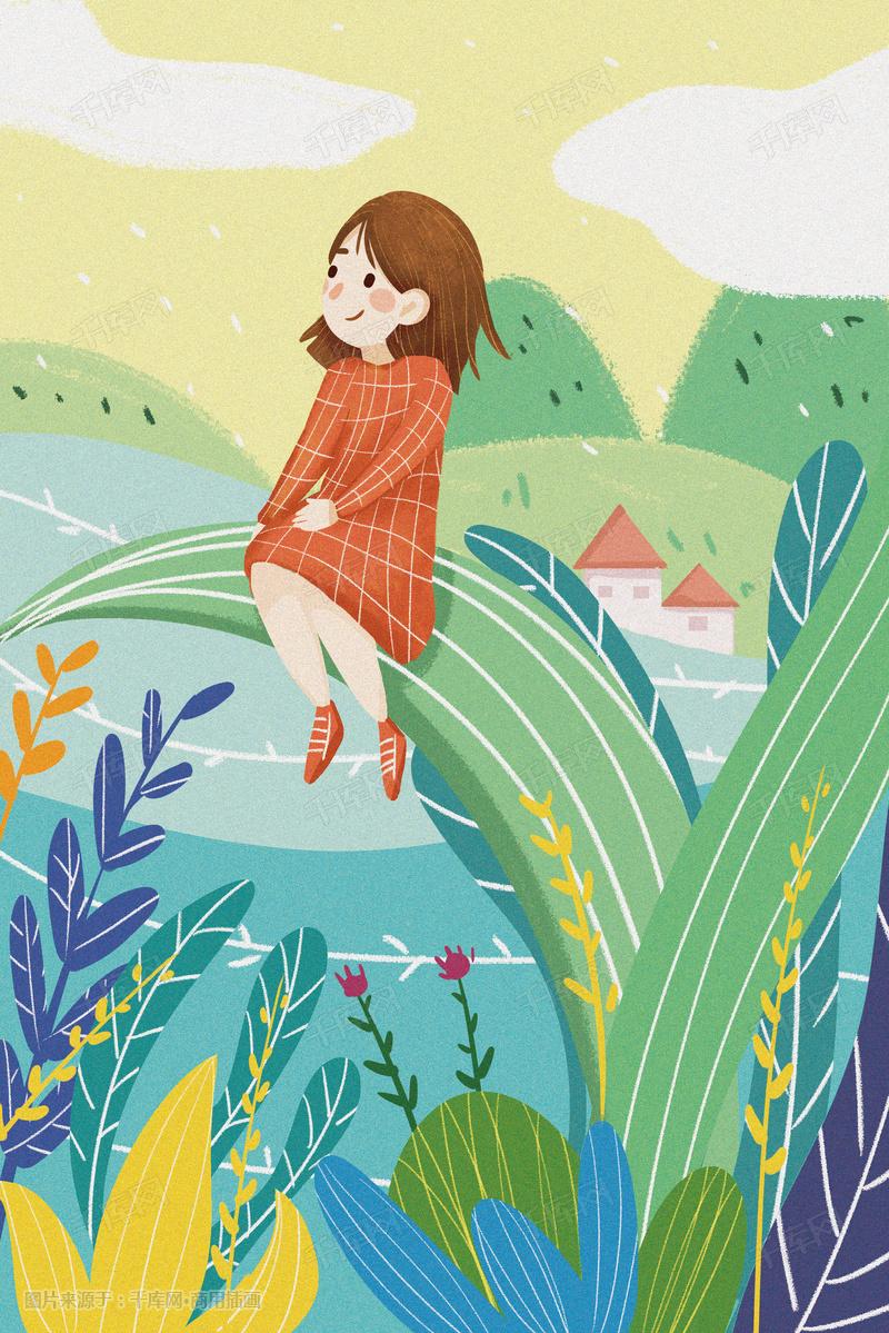 你好二月少女春天绿色生气勃勃卡通扁平插画图