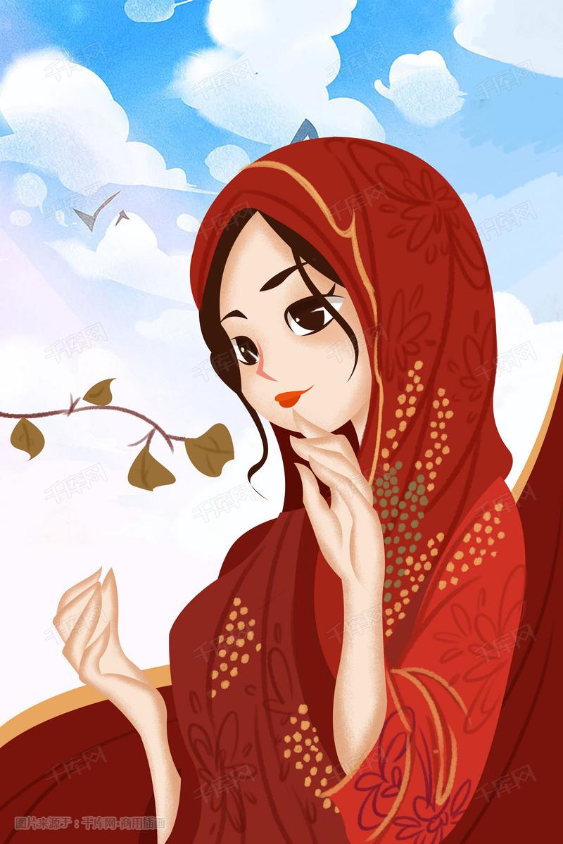 少数民族人物回族手绘插画图片