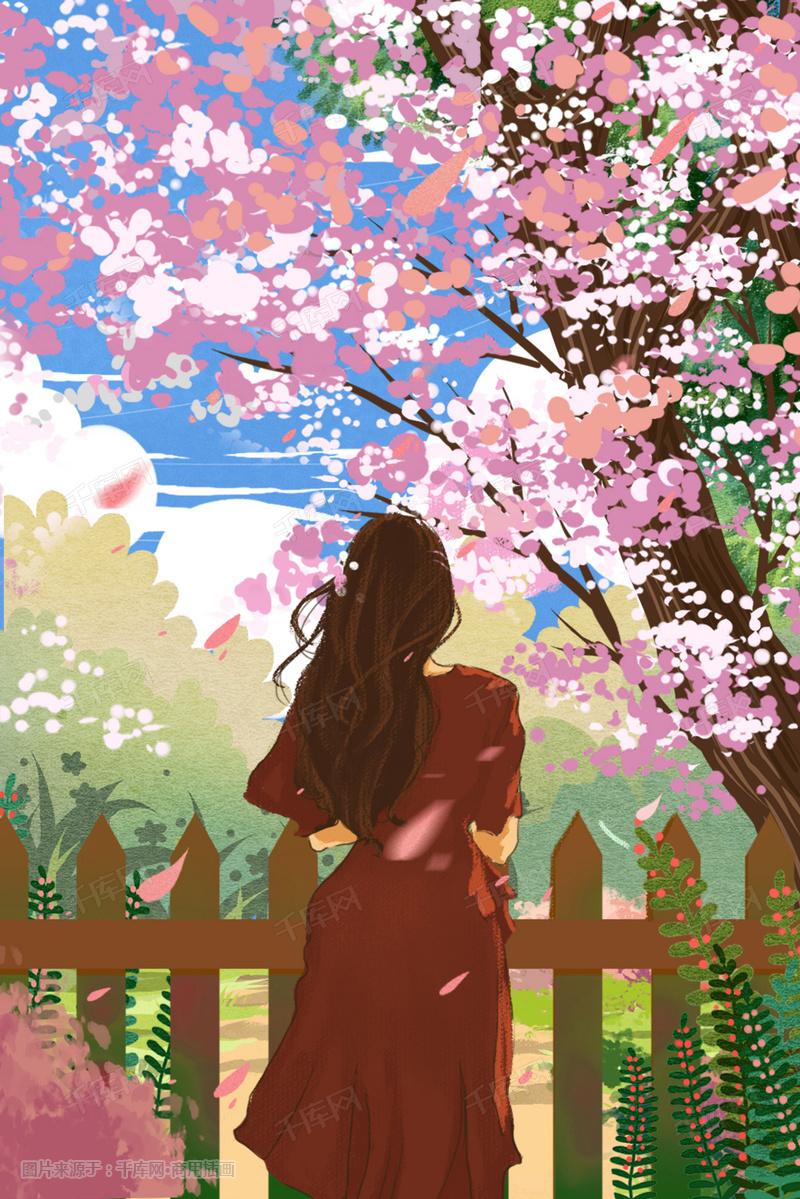 夏至春天樱花结局唯美旅游踏青漫女孩漫画系插子画风粉色切图片