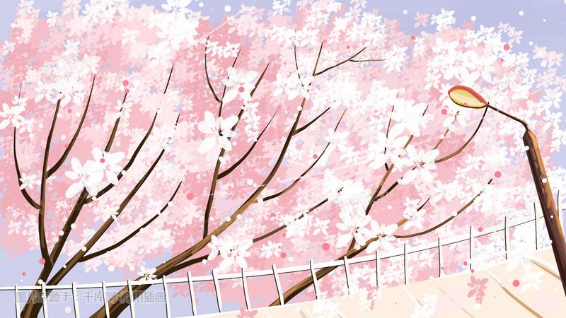樱花风景手绘背景
