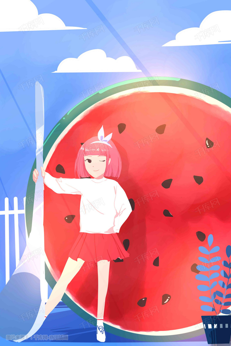 水果青春唯美水果西瓜少女手绘风格插画