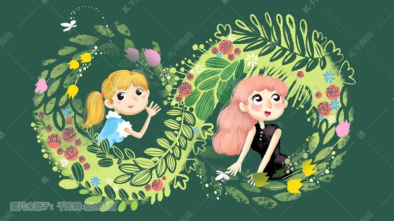 春天漫画风妇女节女神花卉图片配图插画女生的女生古板图片