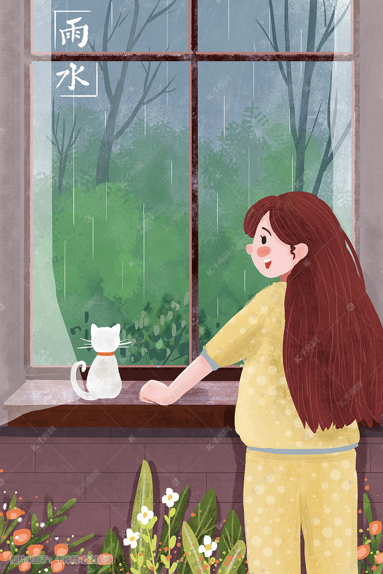下雨天小女孩和貓咪一起看窗外下雨手繪豎圖插畫圖片 千庫網