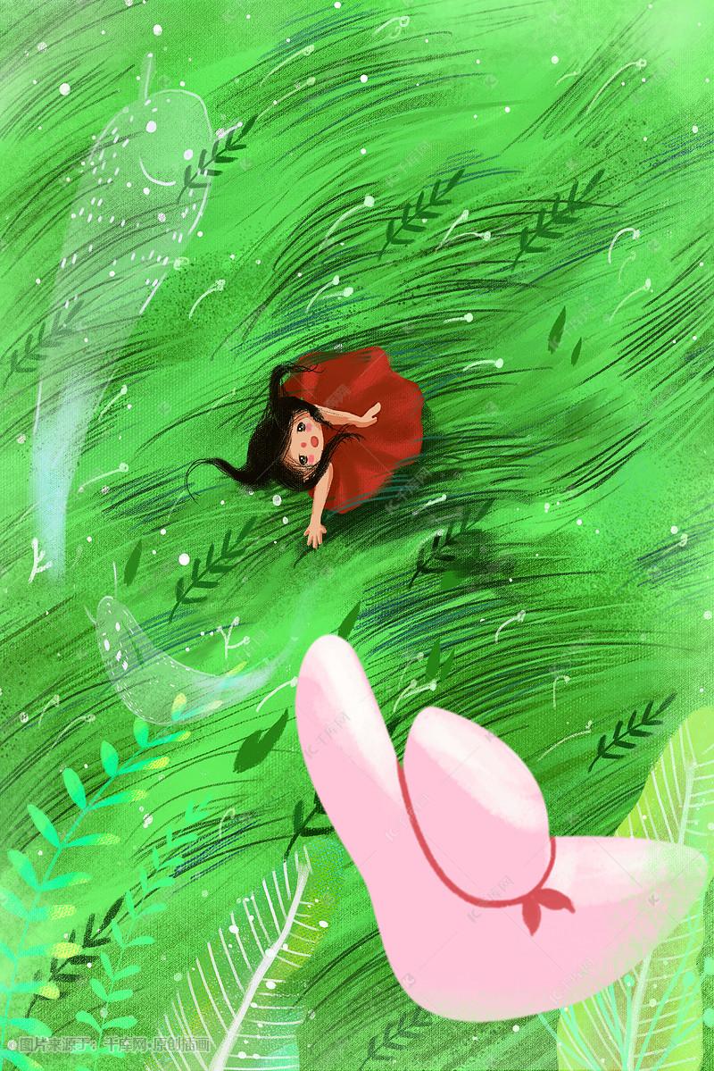 清明春天绿色女孩唯美踏青旅游漫女生草丛系插属猪摩羯座的画风图片
