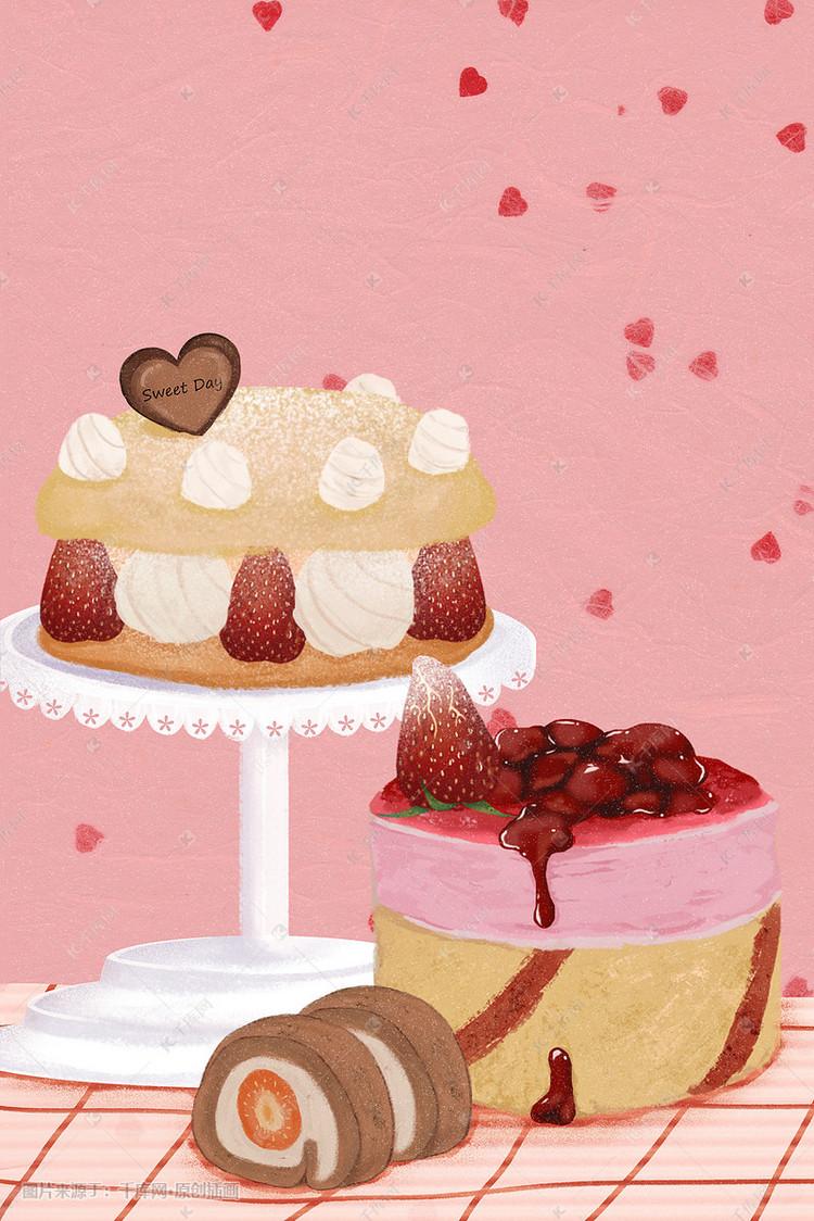 可爱美味甜品蛋糕插画图片 千库网