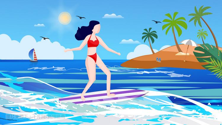 夏季美女海上冲浪插画视频图片美女的刀腹部中图片