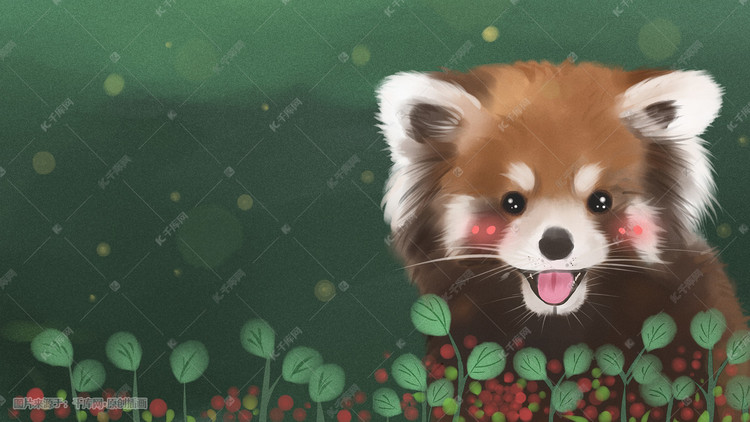 可爱动物小熊猫手绘插画图片 千库网