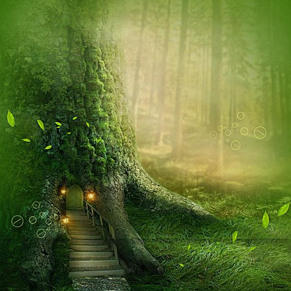 图片 > 【psd】 唯美绿色森林  分类:艺术字体 类目:其他 格式:psd 体