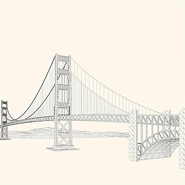手绘大桥背景