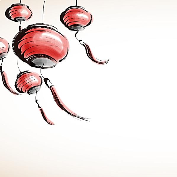 中国风手绘灯笼元宵节