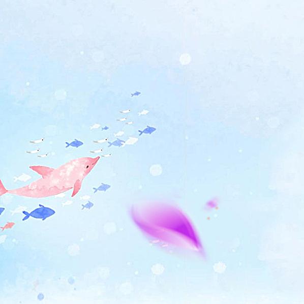 卡通手绘可爱鱼群护肤品背景