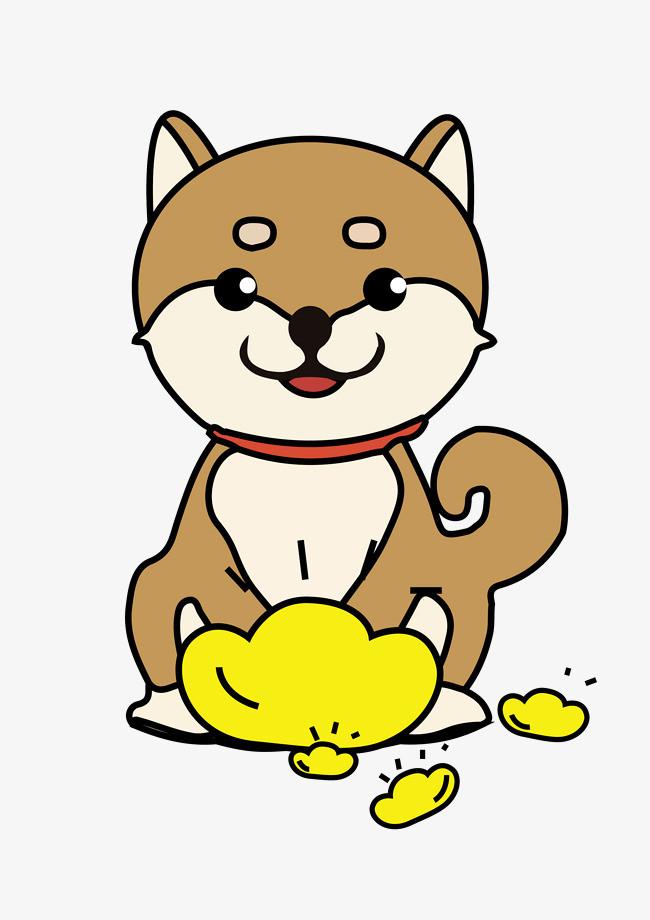 新年狗年可爱卡通小柴犬和金元宝狗狗形象png