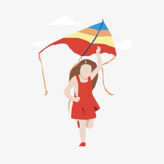 矢量手绘放风筝的女孩