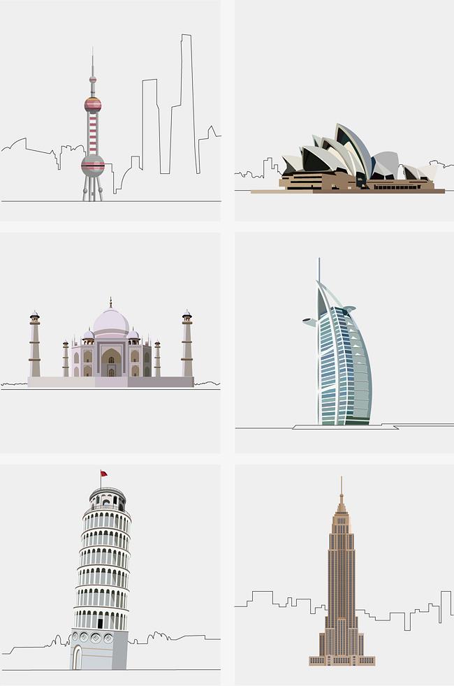 手绘著名建筑图案素材图片免费下载 高清psd 千库网 图片编号9834343