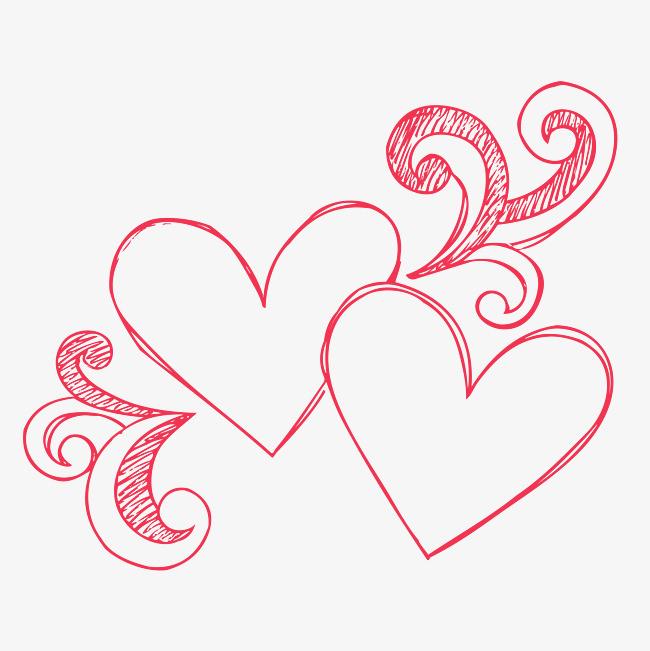 情人节爱心手绘心形装饰图案