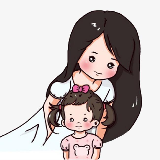 手绘母亲节可爱母女
